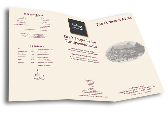 The Foresters Arms Food Menu